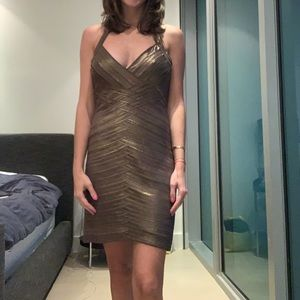 BCBG bronze dress